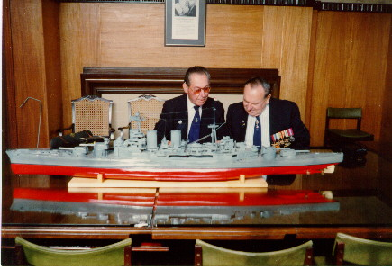 JR Williams and Nobby Clark viewing a model of Hood