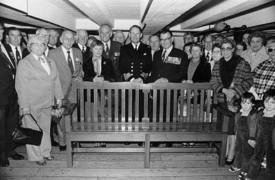 The H.M.S. Hood bench aboard H.M.S. Victory