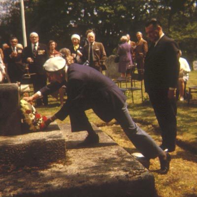 Wreath being laid at an H.M.S. Hood Remembrance Ceremony, 1970s or 1980s