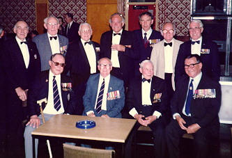 Bob Tilburn and Ted Briggs with veterans of H.M.S. Electra, May 1986