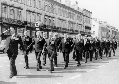 The first parade of the H.M.S Hood Association Standard, 1977