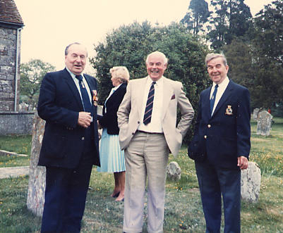 Ken Clark, Jim Haskell and Den Finden at Boldre Church, 1985