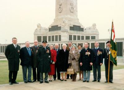 Hood Association members at the Portsmouth Naval Memorial, November 1987