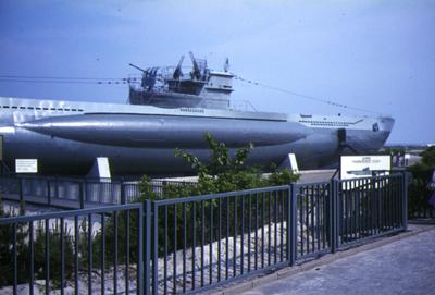 Kriegsmarine U-boat (U995) near the naval memorial at Kiel-Laboe