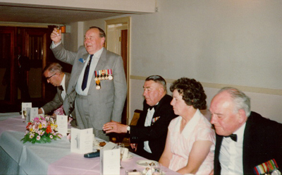 Nobby Clark toasting the ladies, May 1990