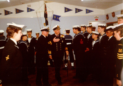 Vice Admiral Louis leBailly inspecting cadets from TS Hood