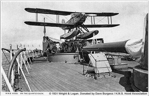 Fairey floatplane on the quarterdeck of H.M.S. Hood, circa 1931