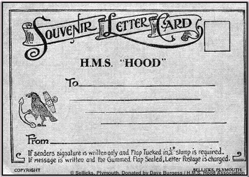 Reverse of a souvenir H.M.S. Hood Letter Card/post card