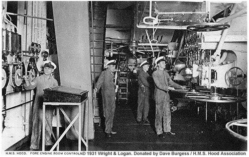 H.M.S. Hood's forward engine room, circa 1931