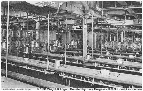 A typical H.M.S. Hood mess deck circa 1931