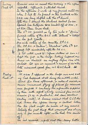 A page from JES Bush's onboard diary