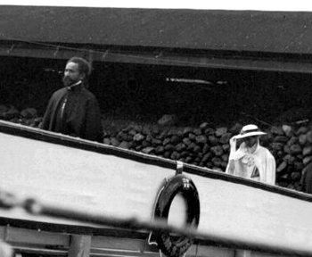 Haile Selassie coming aboard Hood in 1935