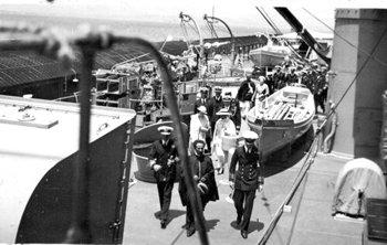Haile Selassie aboard Hood in 1935