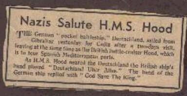 Nazis salute HMS Hood