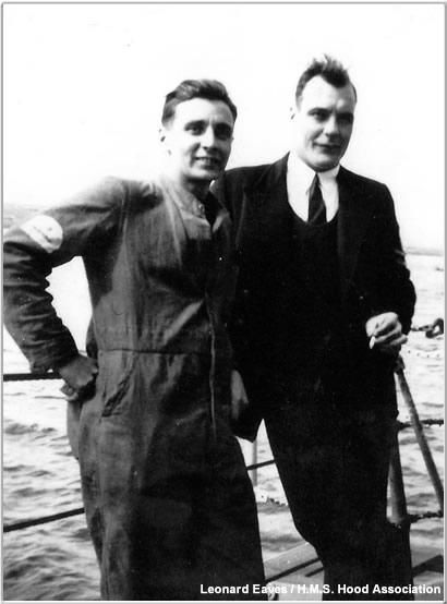 Friends posing aboard Hood, 1940 or 1941