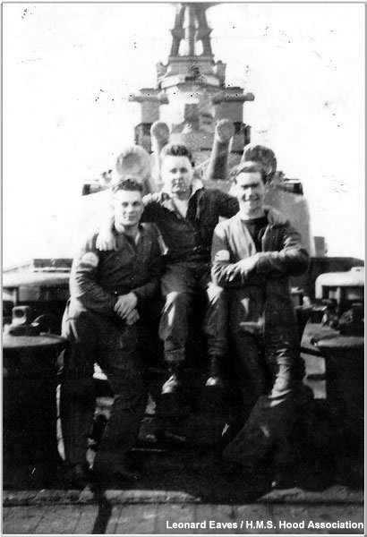 Leonard Eaves and shipmates on Hood's forecastle, spring 1941