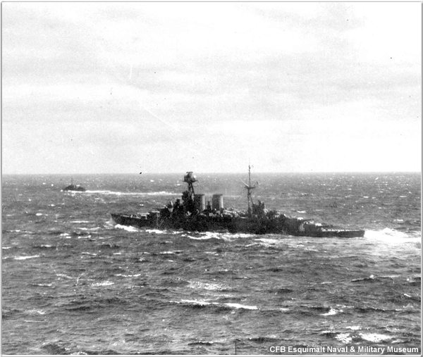 H.M.S. Hood on patrol at sea in April or May 1941, courtesy of CFB Esquimalt Naval & Military Museum
