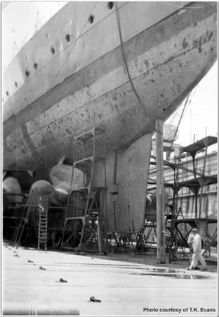 Hood's stern whilst in the floating drydock