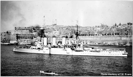 Greek cruiser Ayeroff arriving at Malta for visit in August 1938