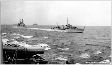 Exercises off Malta H.M.S. Alfridi 1st Tribal Destroyer Flotilla with Repulse astern