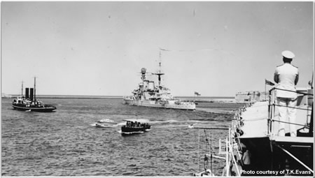 H.M.S Repulse flying her paying off pendant leaving Malta for the United Kingdom at the end of August 1938