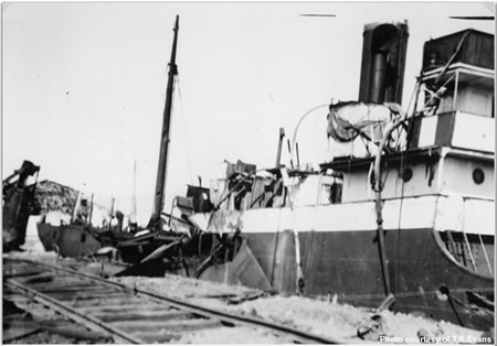 The harbour at Gandia with British merchant ships having sunk as a result of nationalist bombing