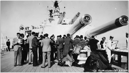 Refugees onboard - about 150 who had been in Madrid for about 18 months - who disembarked at Marseilles to join up with Franco