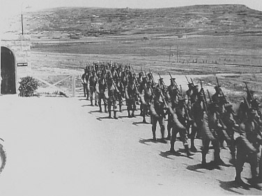 Marching into camp, 21 May 1938