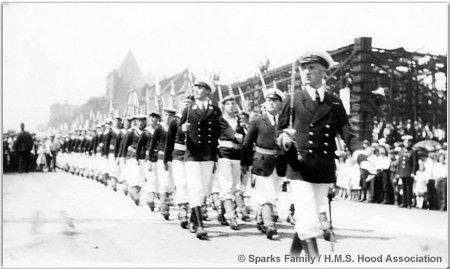 March past of Hood crewmen