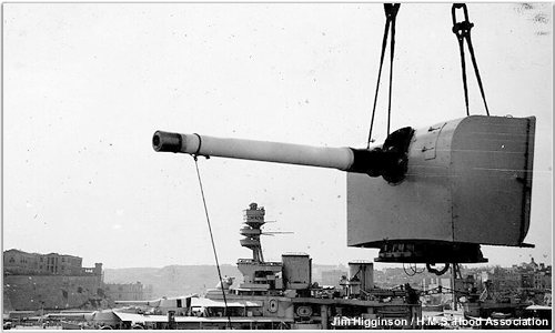5.5 inch gun being removed from Hood