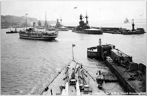 Nelson, Warspite, Malaya and Royal Oak as seen from Hood at Gibraltar