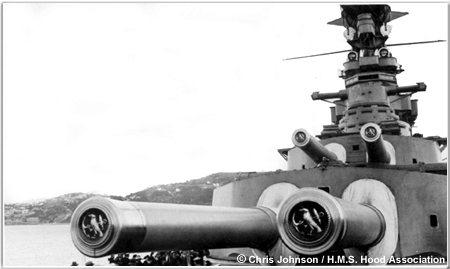 The forward guns of H.M.S. Hood