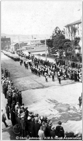 H.M.S. Hoods Royal Marine Band marching to the New Zealand Parliament building