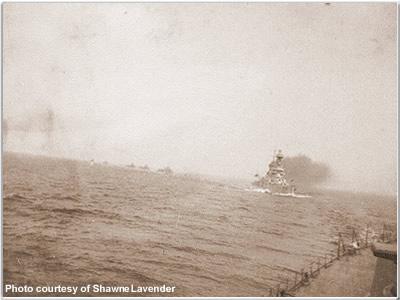 Hood leading Tiger & destroyers in to Kalmer, Sweden, June 1920