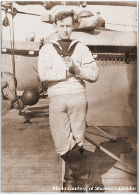Sailor posing on Hood's Shelter Deck