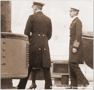 Captain Tomkinson (left) and King Haakon of Norway (right)