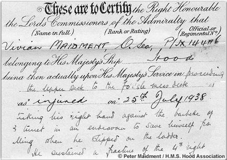 Certificate of injuries