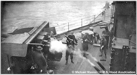 4inch HA/LA gun crew in action aboard Hood