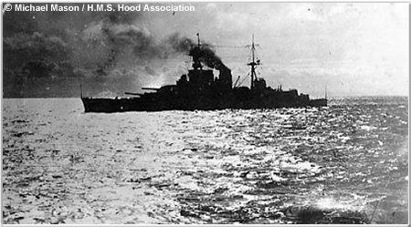 HMS Hood in silhouette, circa 1940