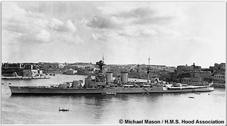 Hood in Grand Harbour, Malta circa 1936