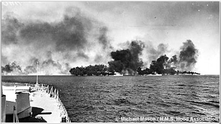 Destroyer laying a smoke screen in the Mediterranean