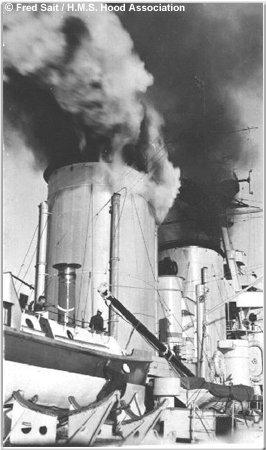H.M.S. Hood vents steam