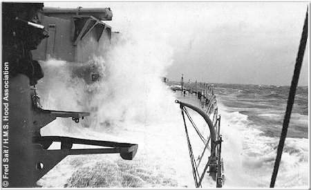 H.M.S. Hood during rough weather in the Bay of Biscay, 1937 or 1938