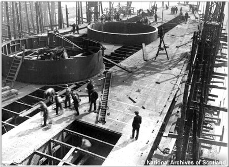 Plating being laid on H.M.S. Hoods quarterdeck