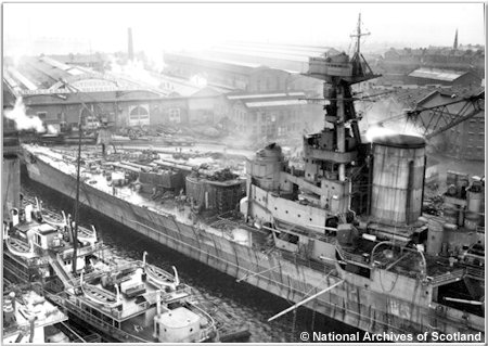 H.M.S. Hood in the fitting out basin