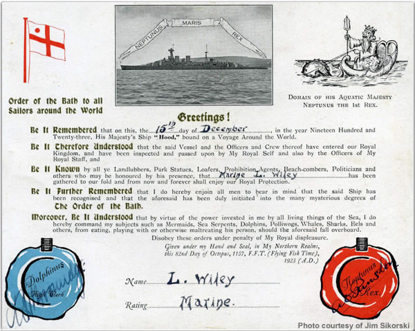 Crossing the Line Certificate (for December 1924 equator ceremony)