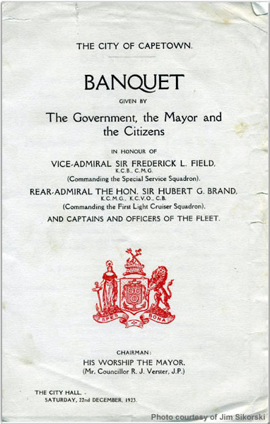 Banquet flyer from Cape Town, South Africa