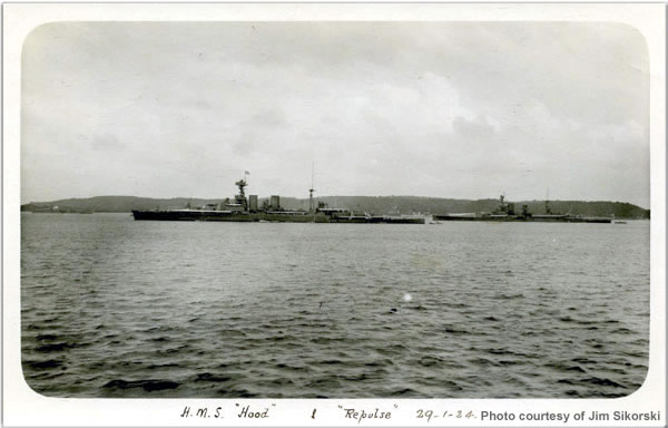 H.M.S. Hood and Repulse at Ceylon