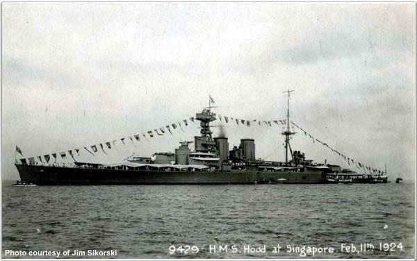 H.M.S. Hood at Singapore, 11 Feb 1924