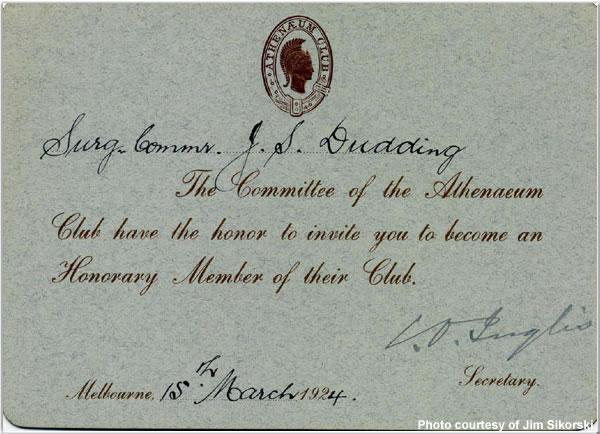 Invitation to the Athenaeum Club in Melbourne, Australia, March 1924
